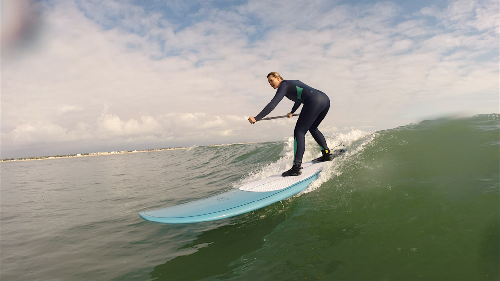 paddle board surfing at Hayling Island