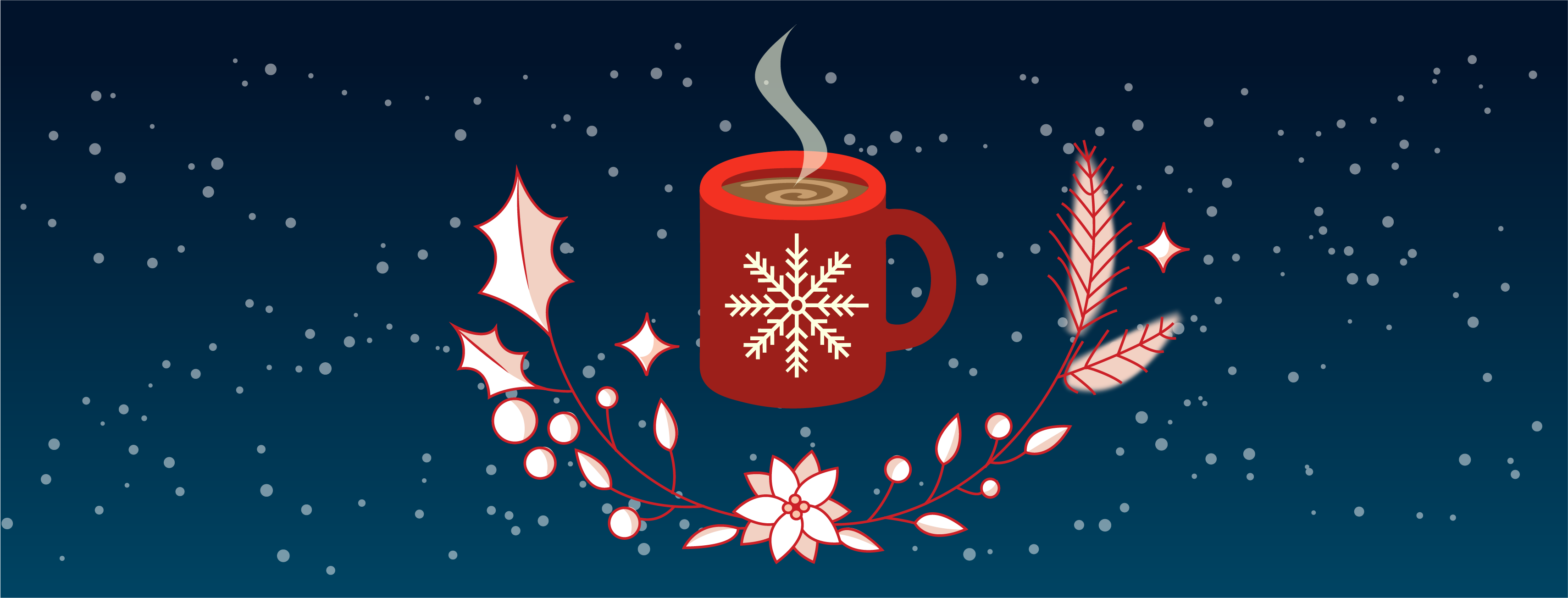 Digital art banner of a red cup of steaming hot chocolate. Underneath the cup are winter decorative plants and vines. The background is a dark to navy blue gradient with gentle snowflakes.