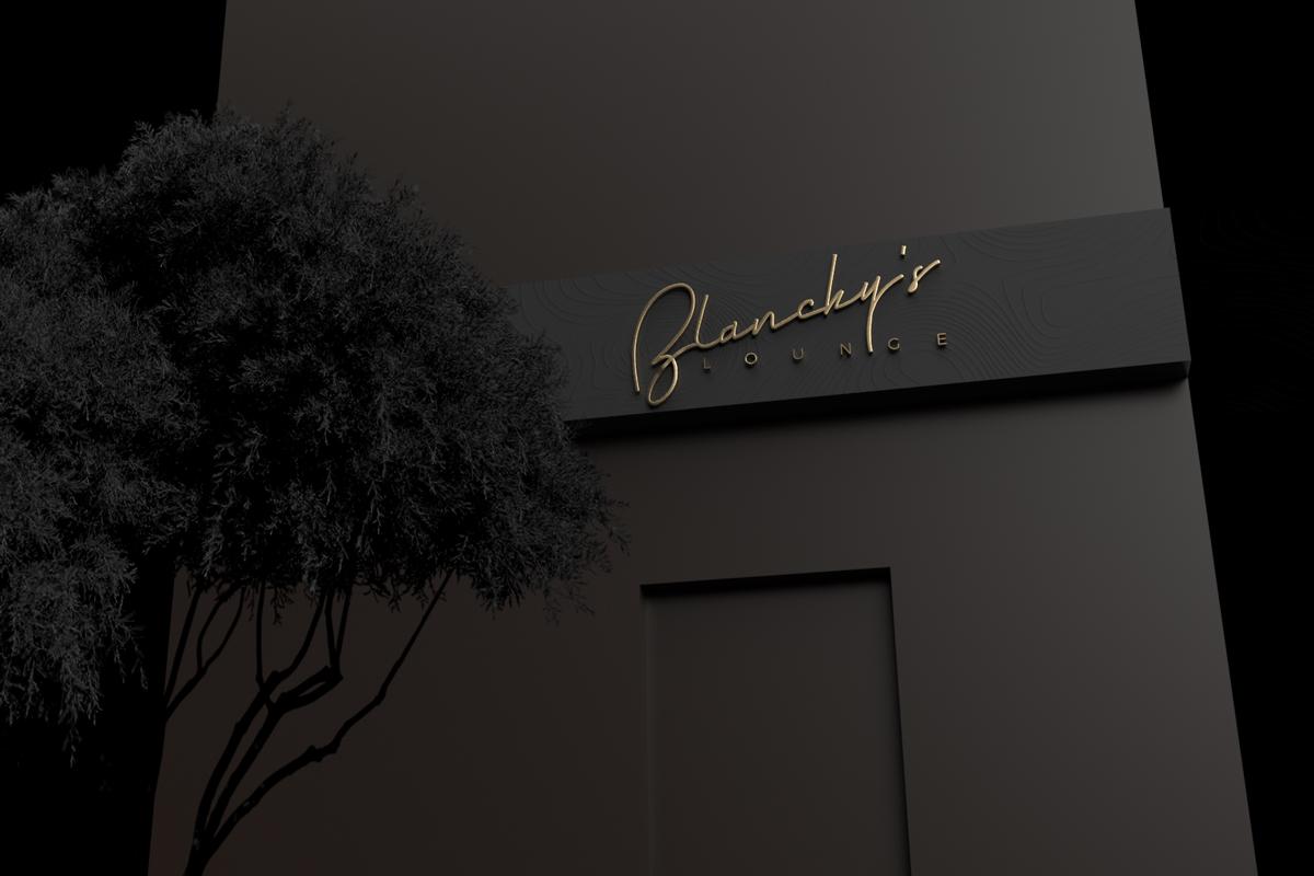 blanchy's lounge, singage production, signage design, xolve branding, rebarnding