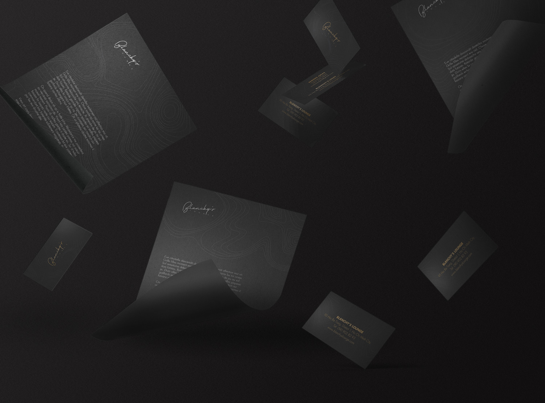 blanchy's lounge application, xolve branding, business card, name card, letterhead