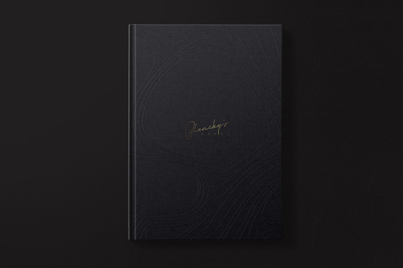 blanchy's lounge application, xolve branding, menu, drink menu, menu cover