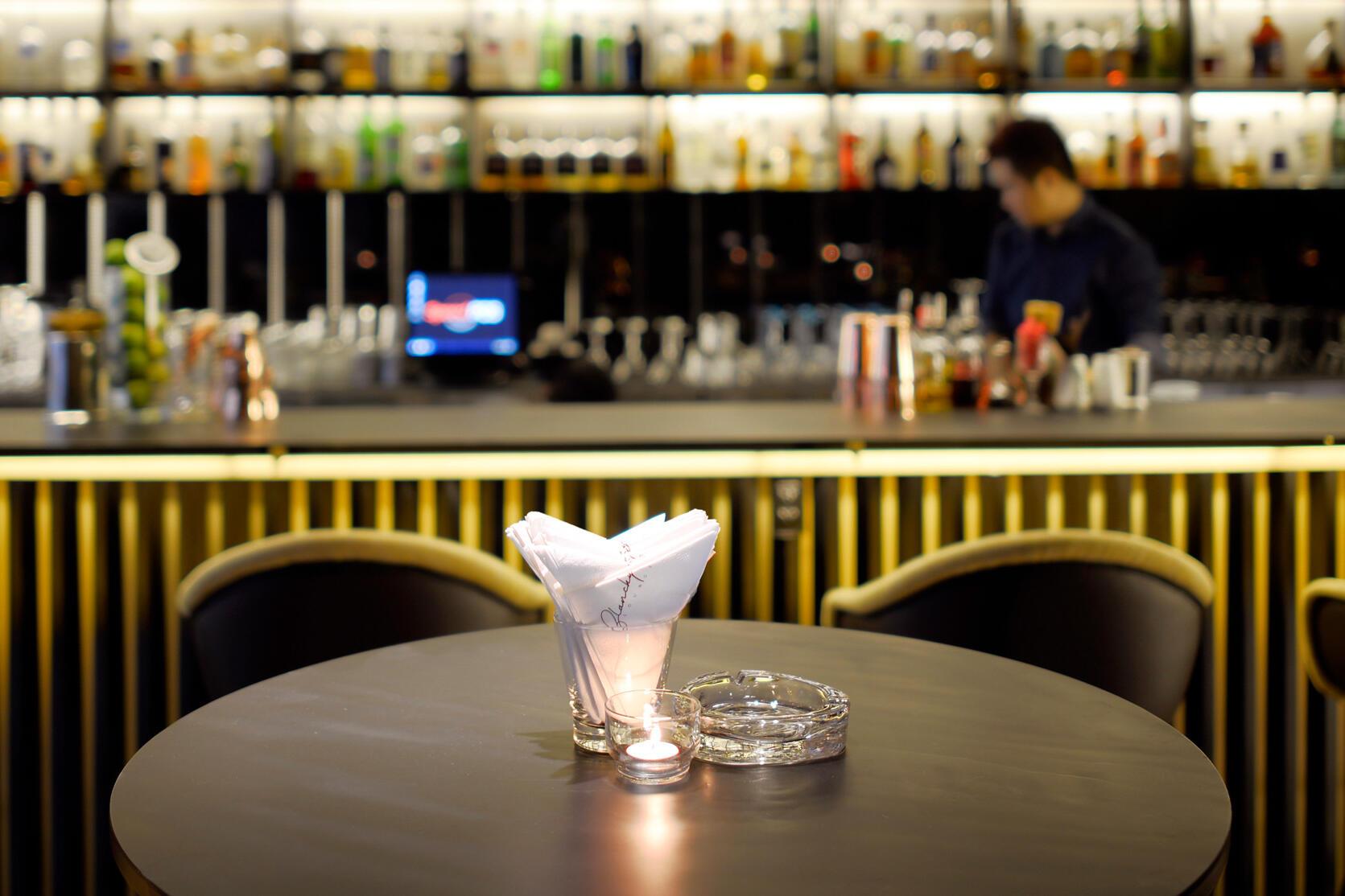 blanchy's lounge application, xolve branding, napkin