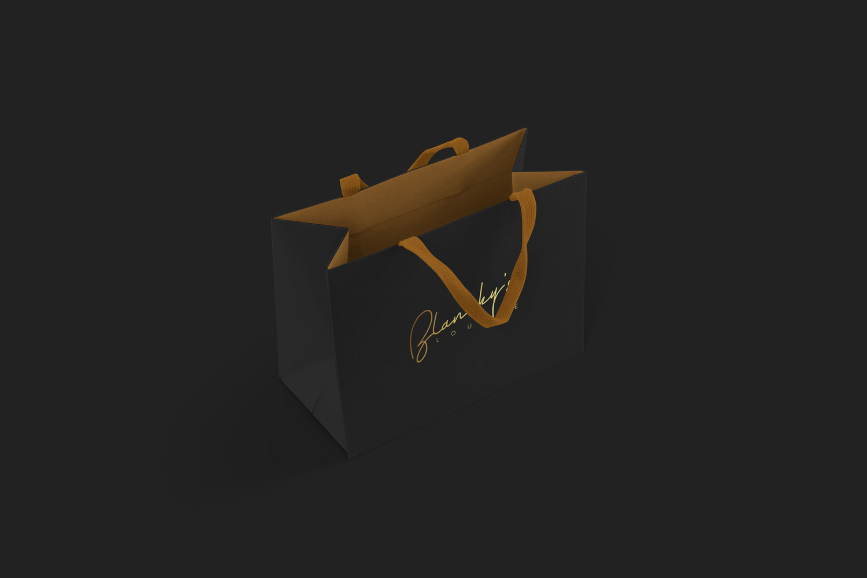blanchy's lounge application, xolve branding, paper bag