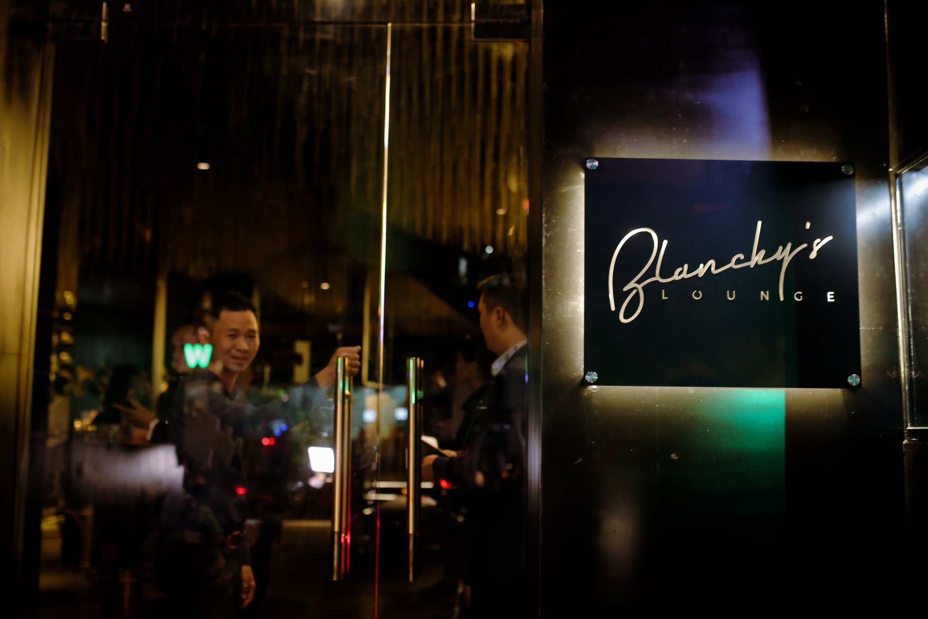 blanchy's lounge, outdoor signage, cutout logo, xolve branding