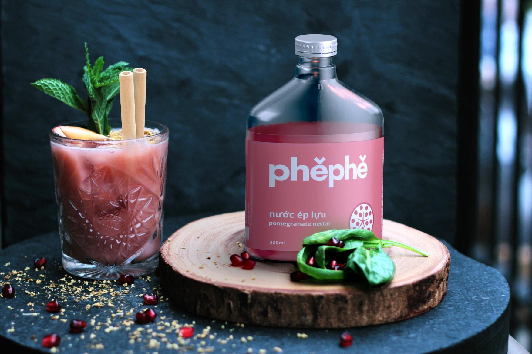 label design, packaging design, branding, product design, juice bottle, phephe, xolve branding, modern design, dark and moody