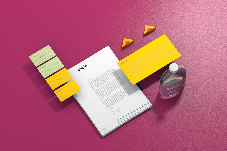 thiet ke thuong hieu, stationary design, phephe, xolve branding, modern design, composition