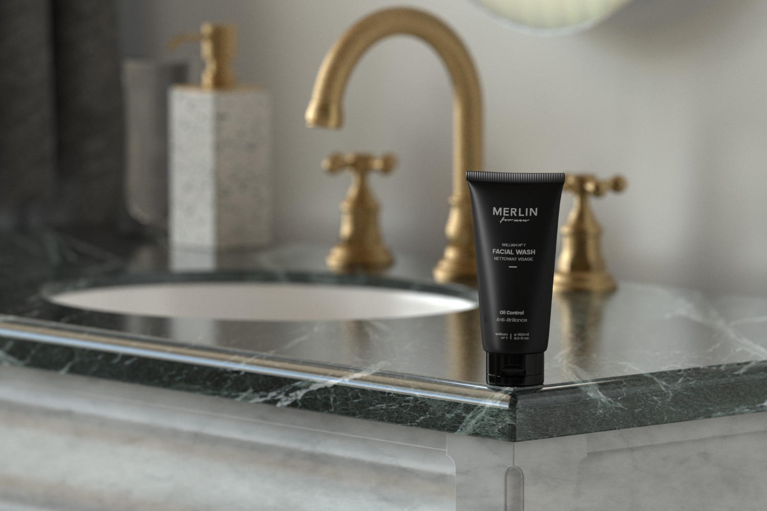 Merlin for men face wash in marble countertop