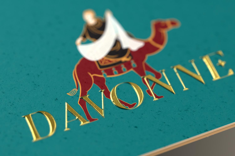 Davonne business card focus on gold foil detail