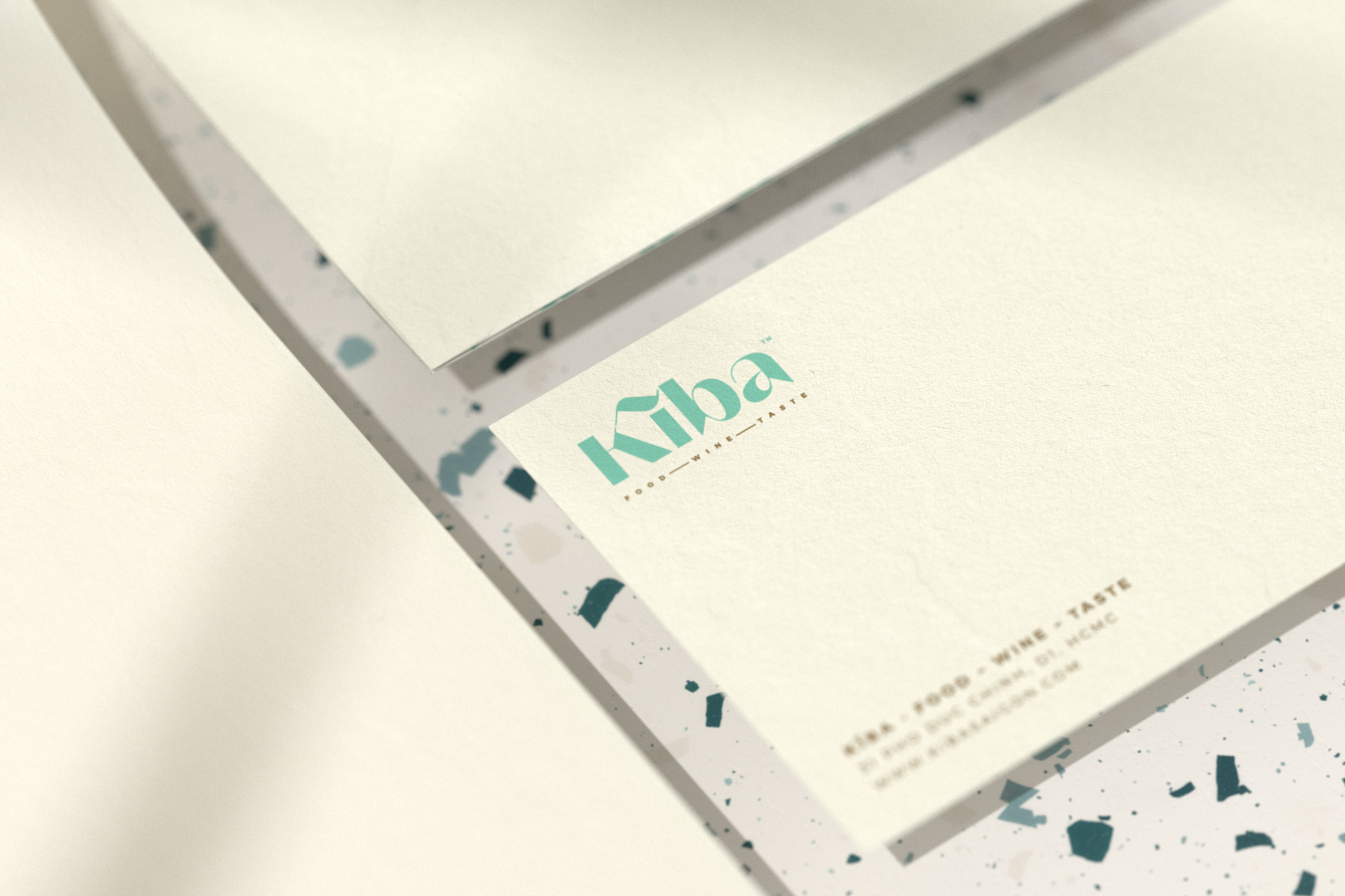 Kiba Saigon letterhead and Dl envelope in closeup view