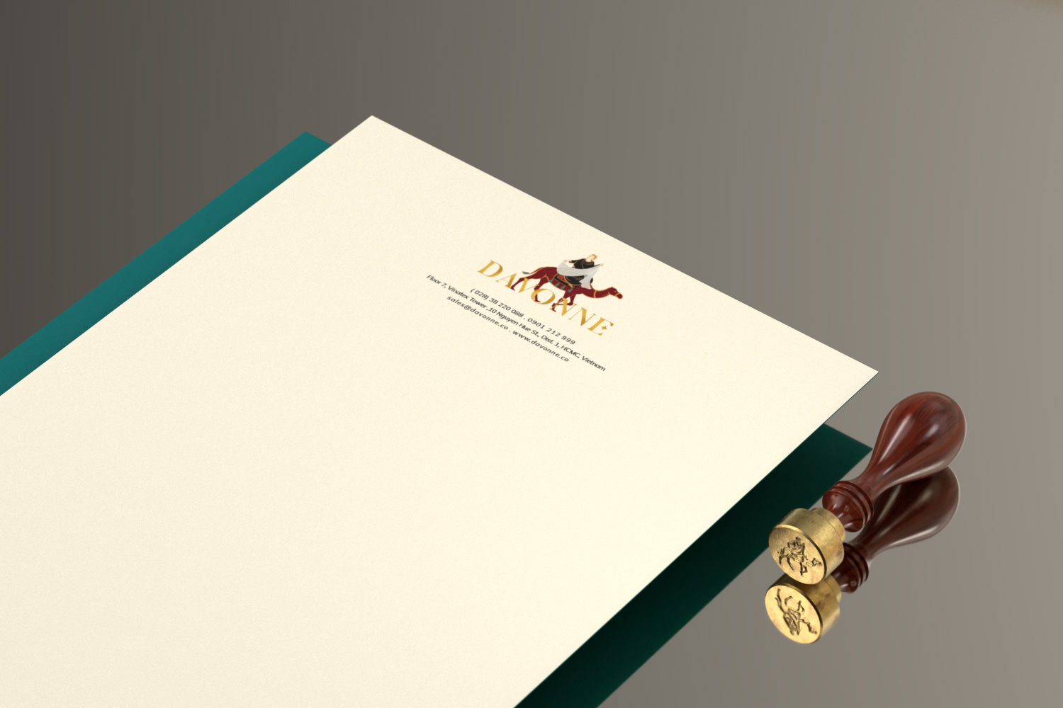 Letterhead with stamp