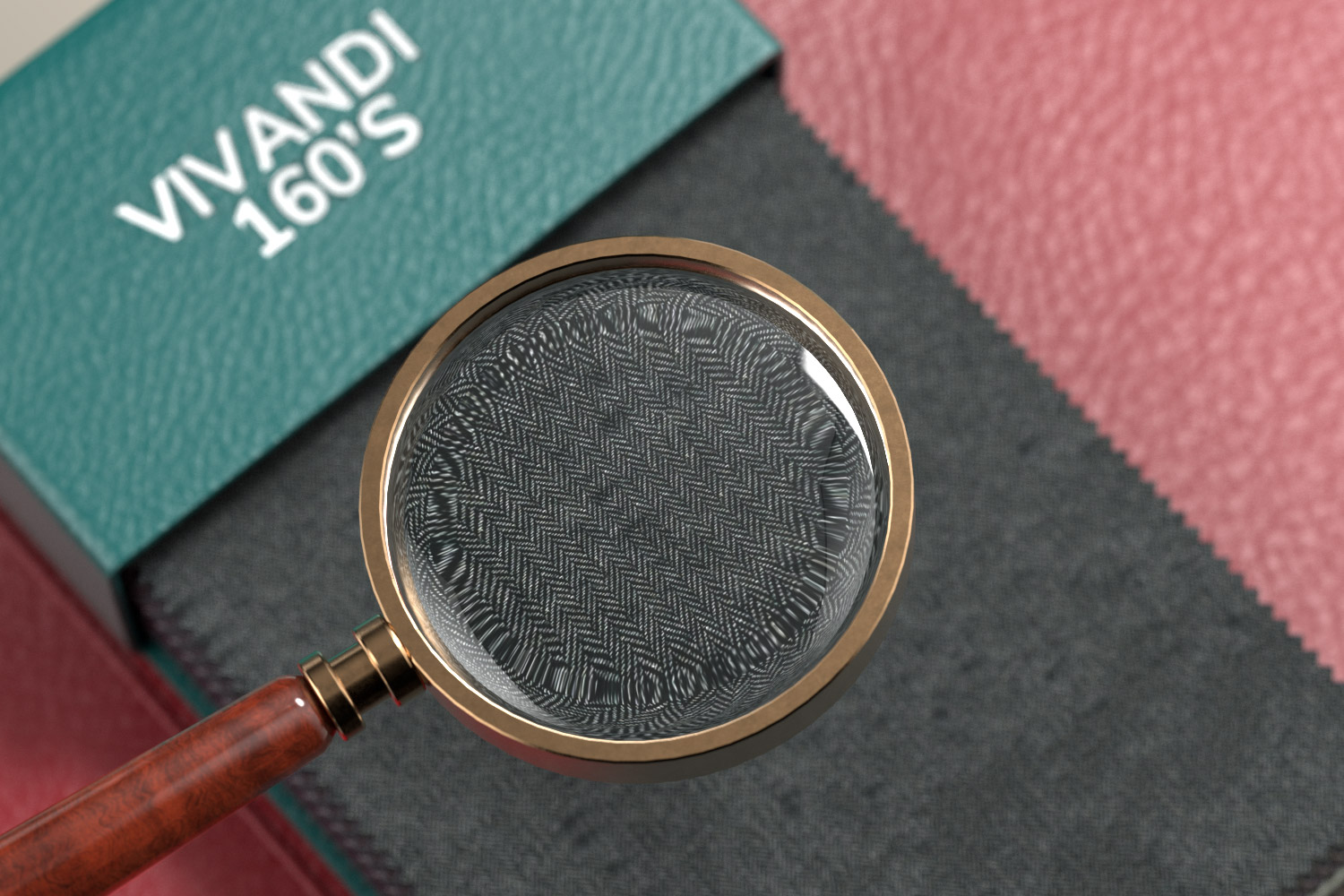 Magnifying glass on fabric detail