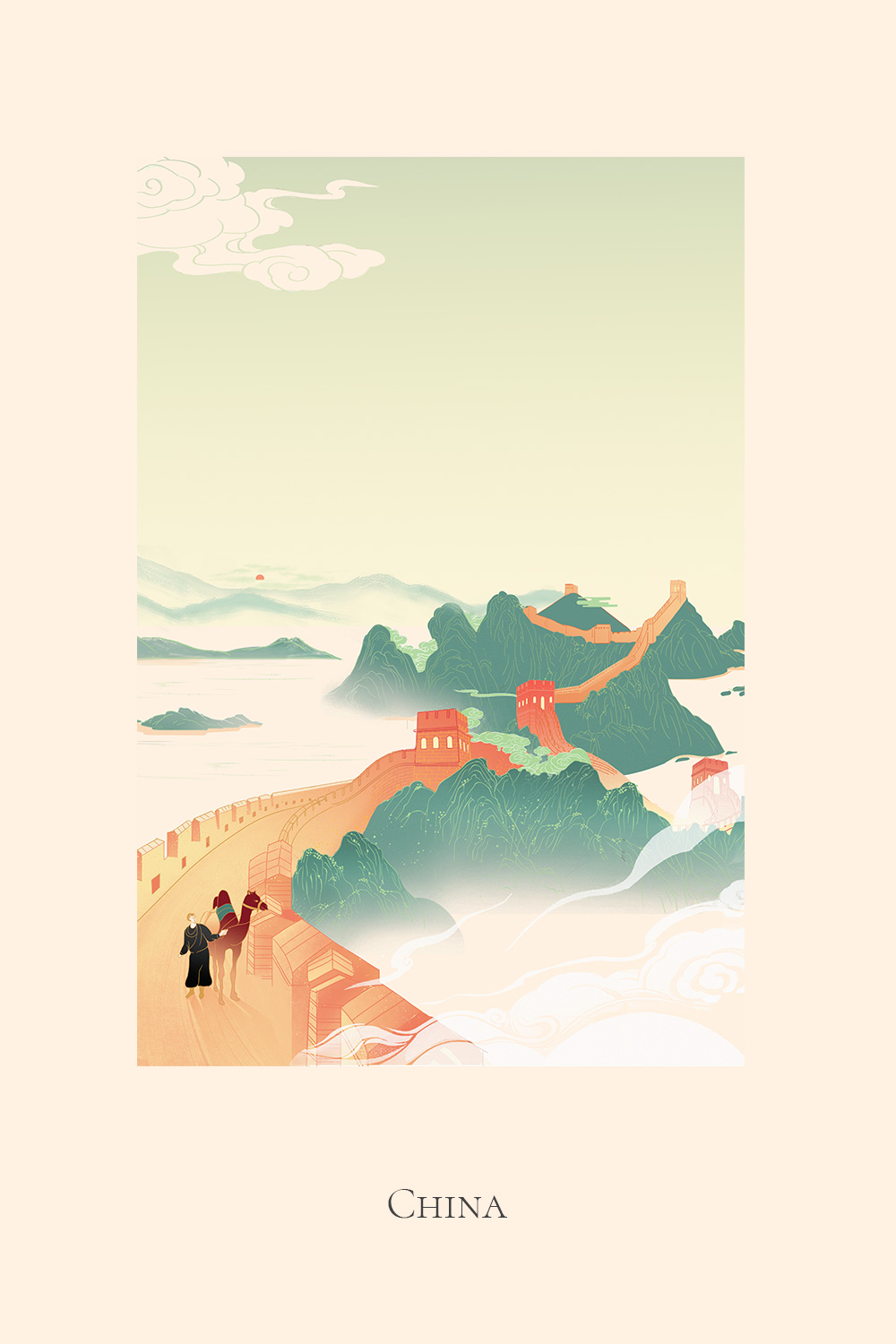 Illustration of a man riding a camel on the Great Wall of China