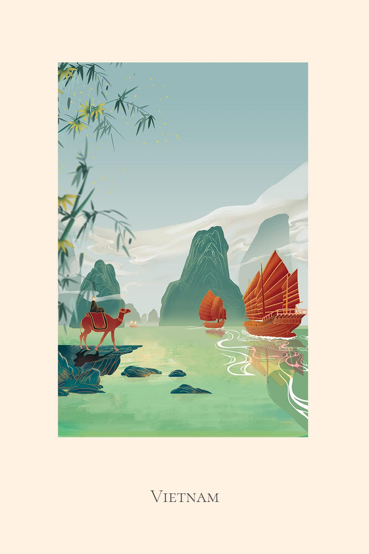 Illustration of a man ridining a camel at Ha Long Bay Vietnam