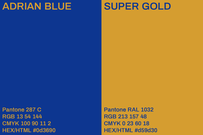 Adrian blue and super gold color palette