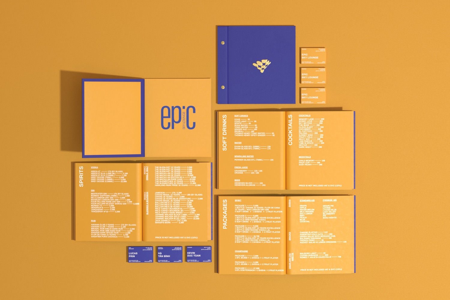 Multiple drink menu and business card on gold paper background