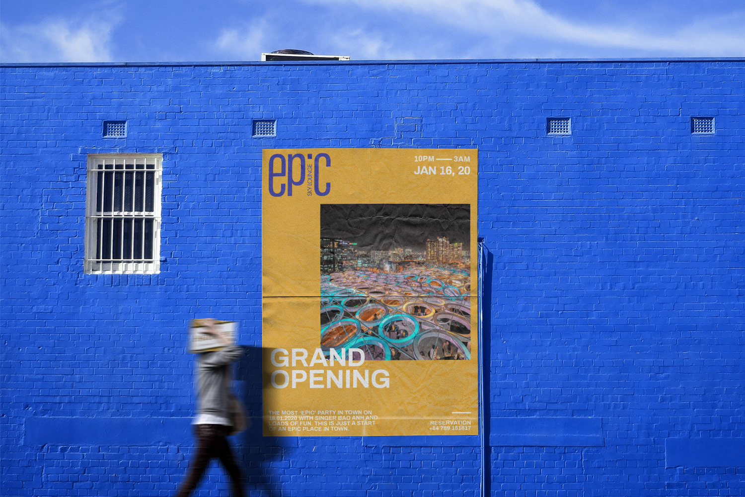 Outdoor poster on blue wall