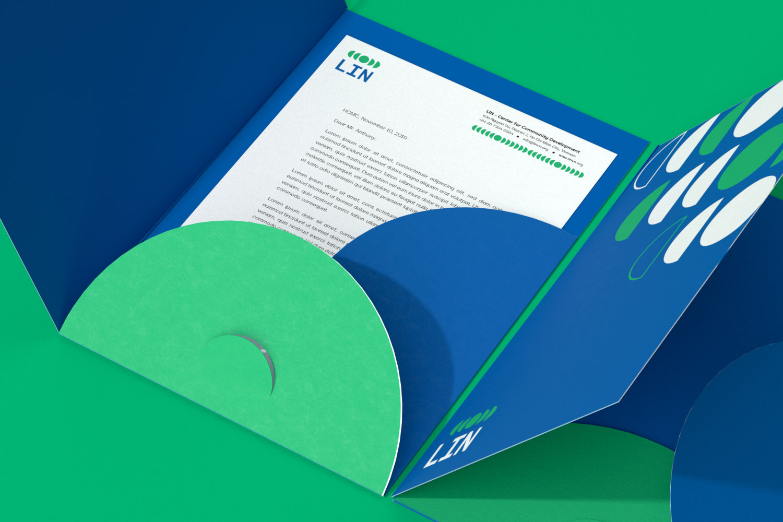 LIN A4 folder with letterhead inside