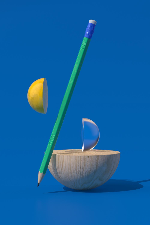LIN pencil with semi sphere props