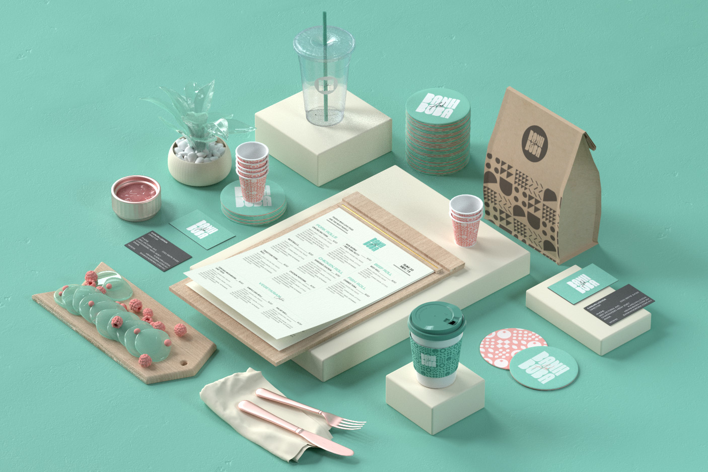 Banh and Boba application and packaging design
