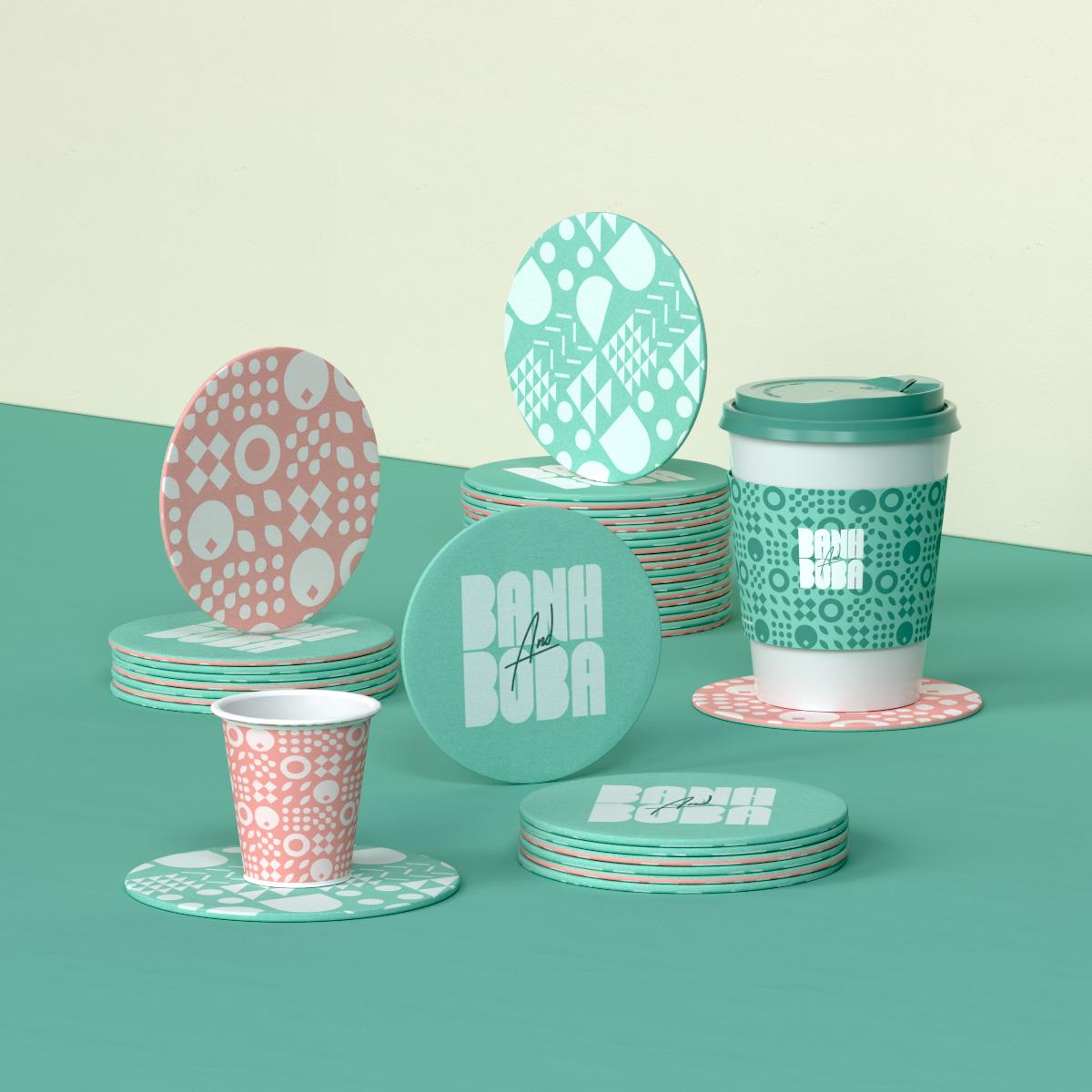 Banh and Boba cup and coasters