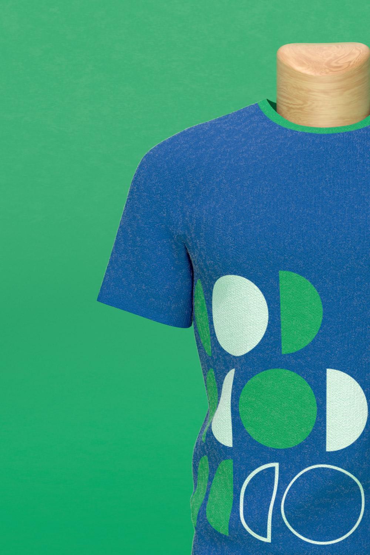 LIN blue tshirt close up detail