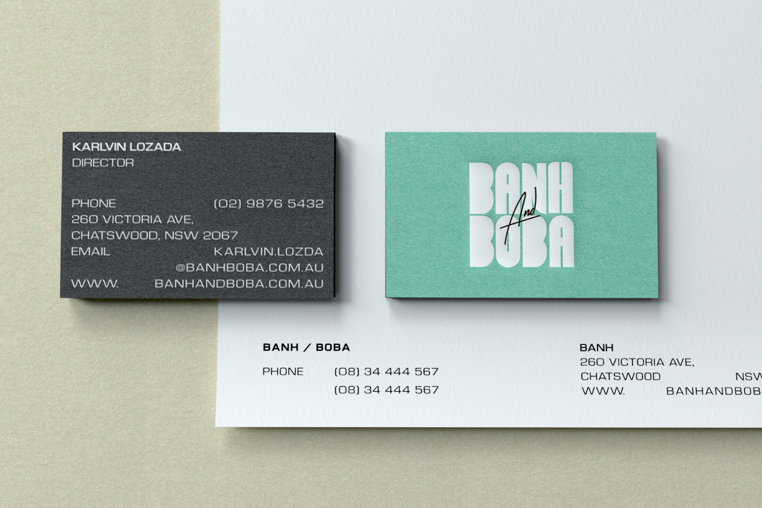 Banh and Boba business card with letterhead