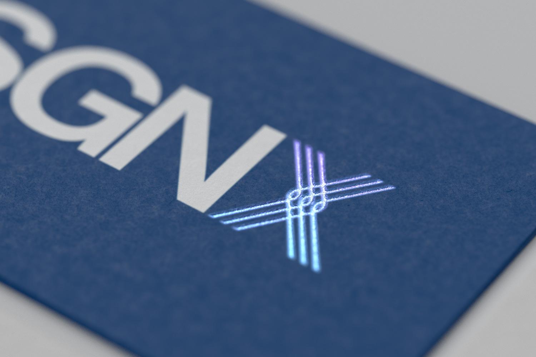 SGNX business card hologram detail