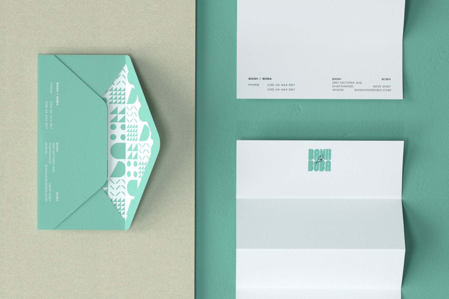 Banh and Boba letterhead and DL envelope