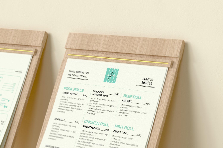 Banh and Boba menu close up