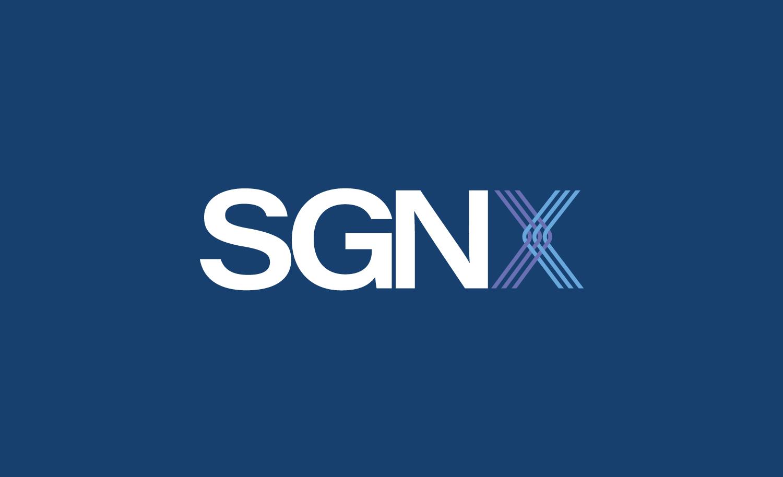 SGNX logo on blue background