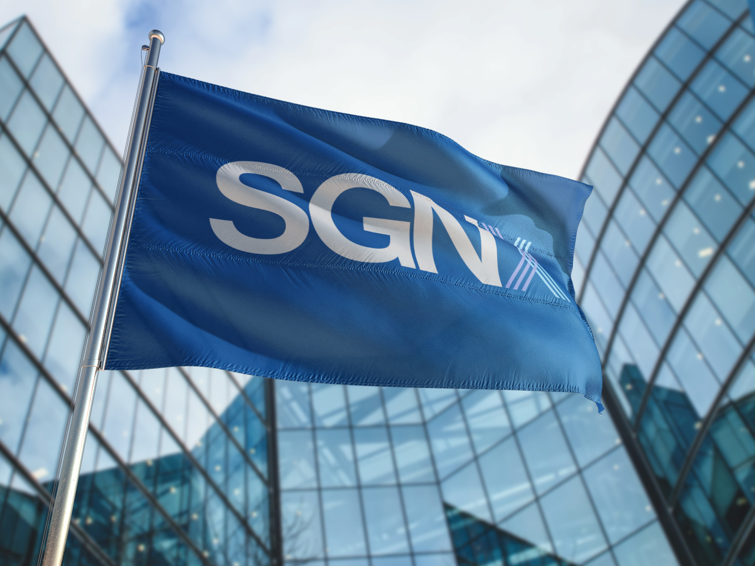 SGNX blue flag with building on the background
