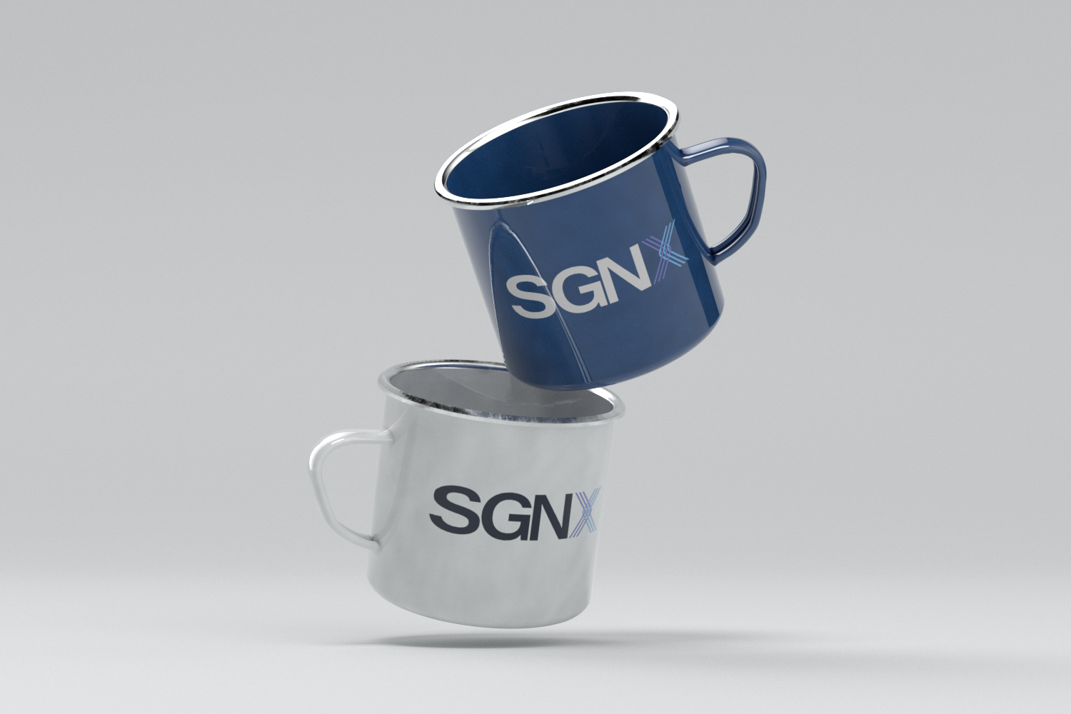 SGNX blue and white mugs