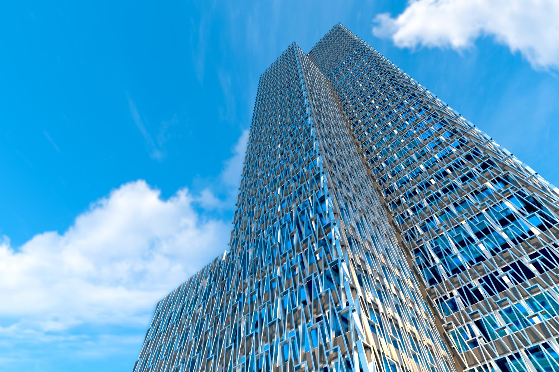 CGI building and blue sky