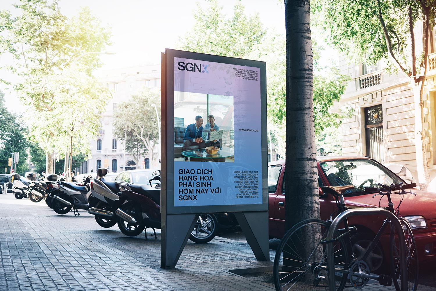 SGNX poster on busy street