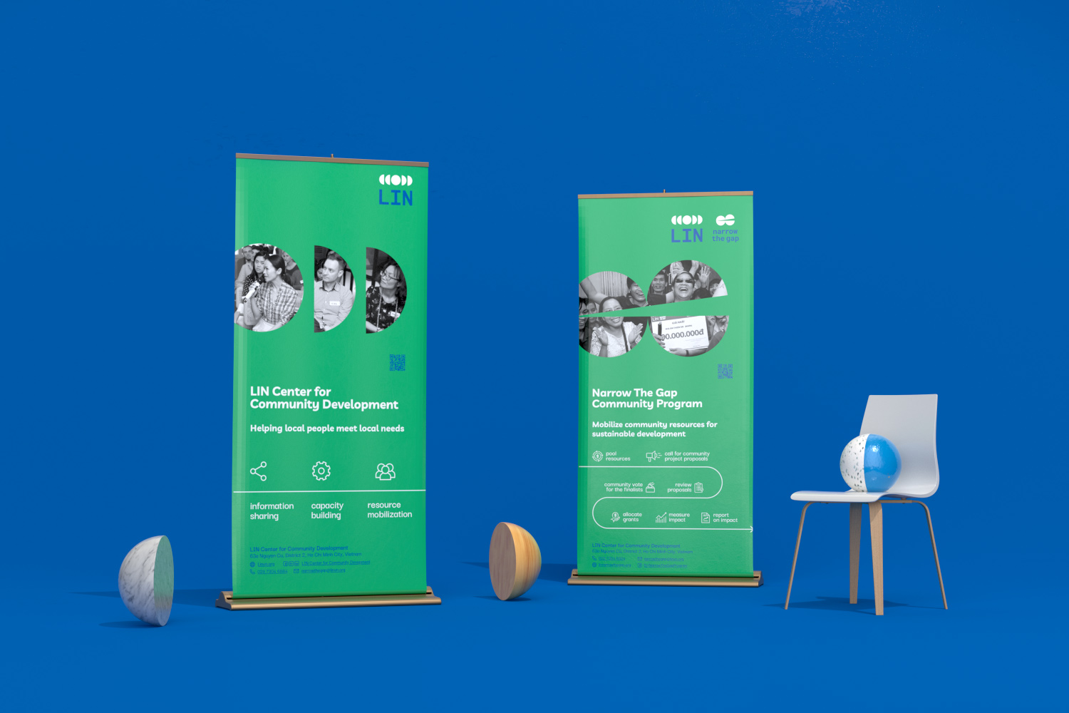 LIN standee with chair and hemespheres