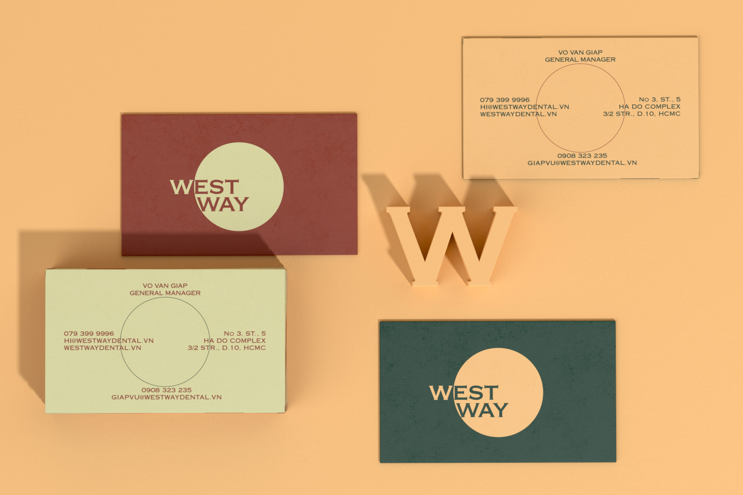 Westway business card on organe background