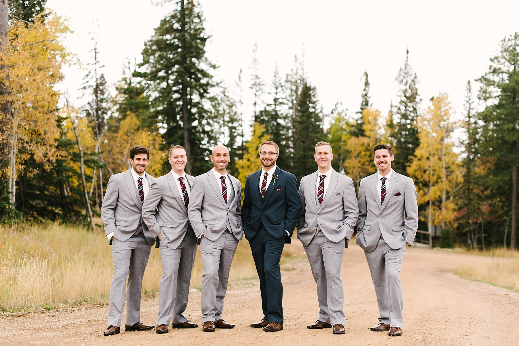 grey and blue suits groomsmen