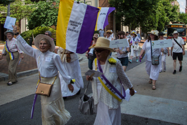 Suffrage March at the Unveiling of the Burn Memorial, Market Street, June 2018