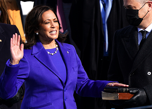 Vice President, Kamala Harris swears at the Inauguration ceremony. U.S. Capitol, Washington, D.C. , Jan. 20, 2021