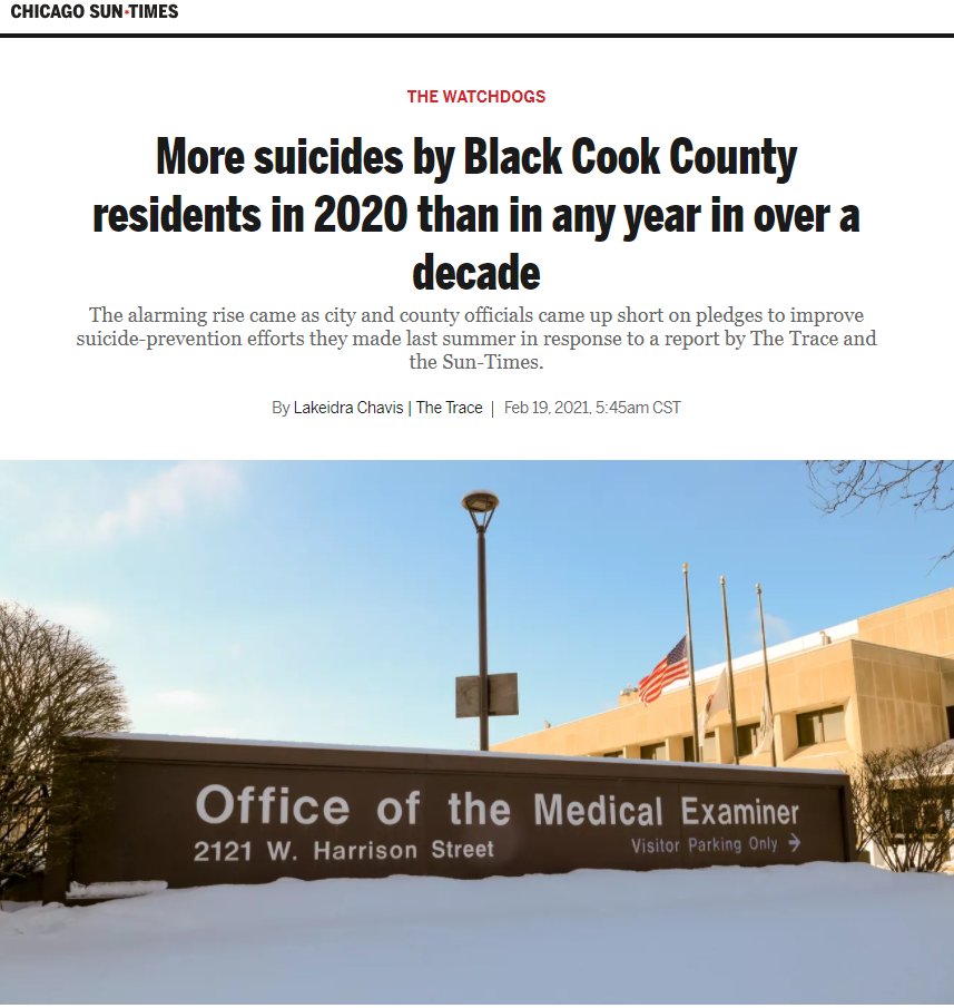 More suicides by Black Cook County residents in 2020 than in any year in over a decade