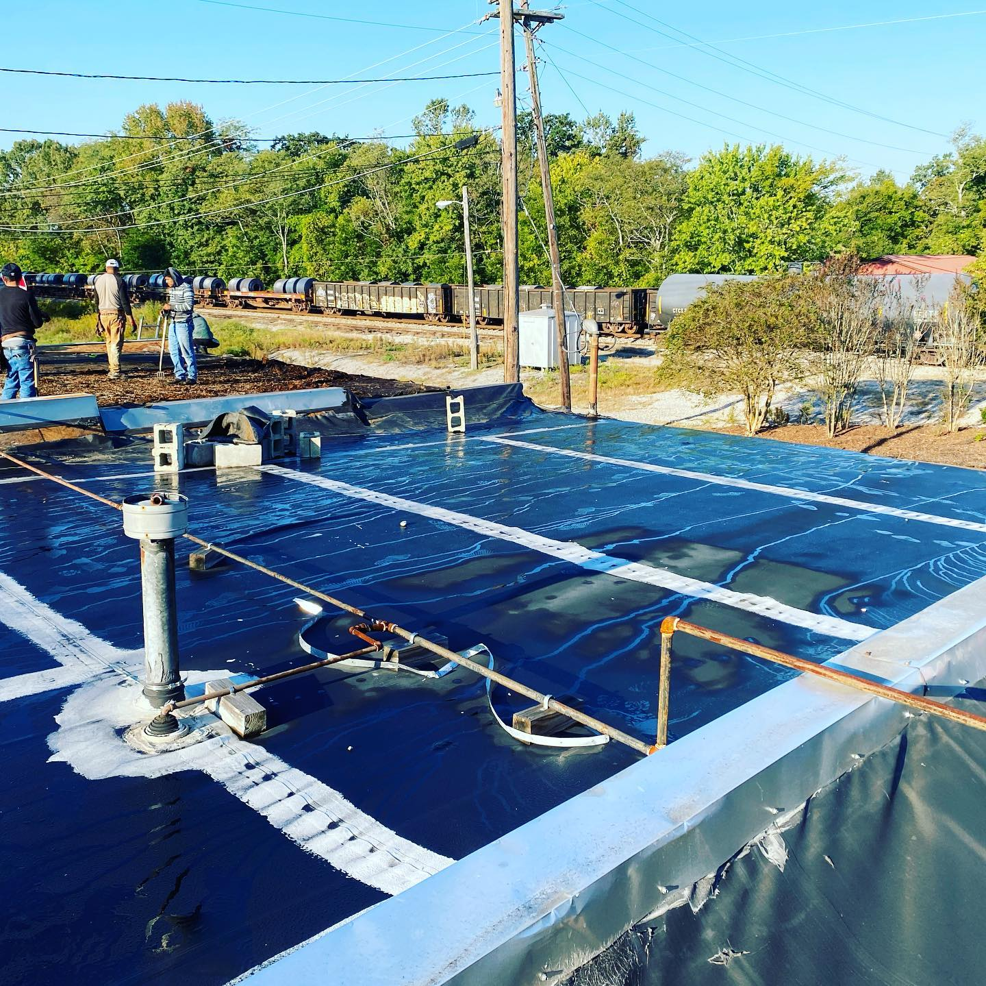 photo of underlay of new TPO roof at Ardmore, Al
