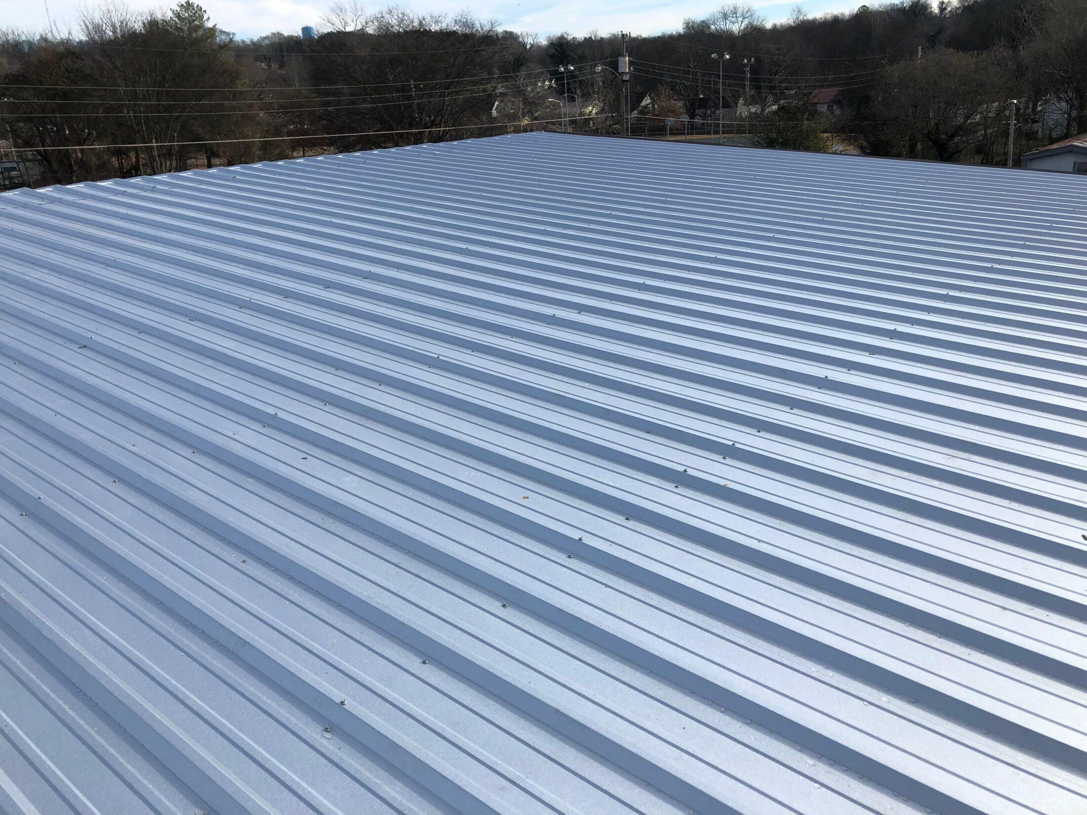 Photo of angle of metal roof newly installed in Pulaski