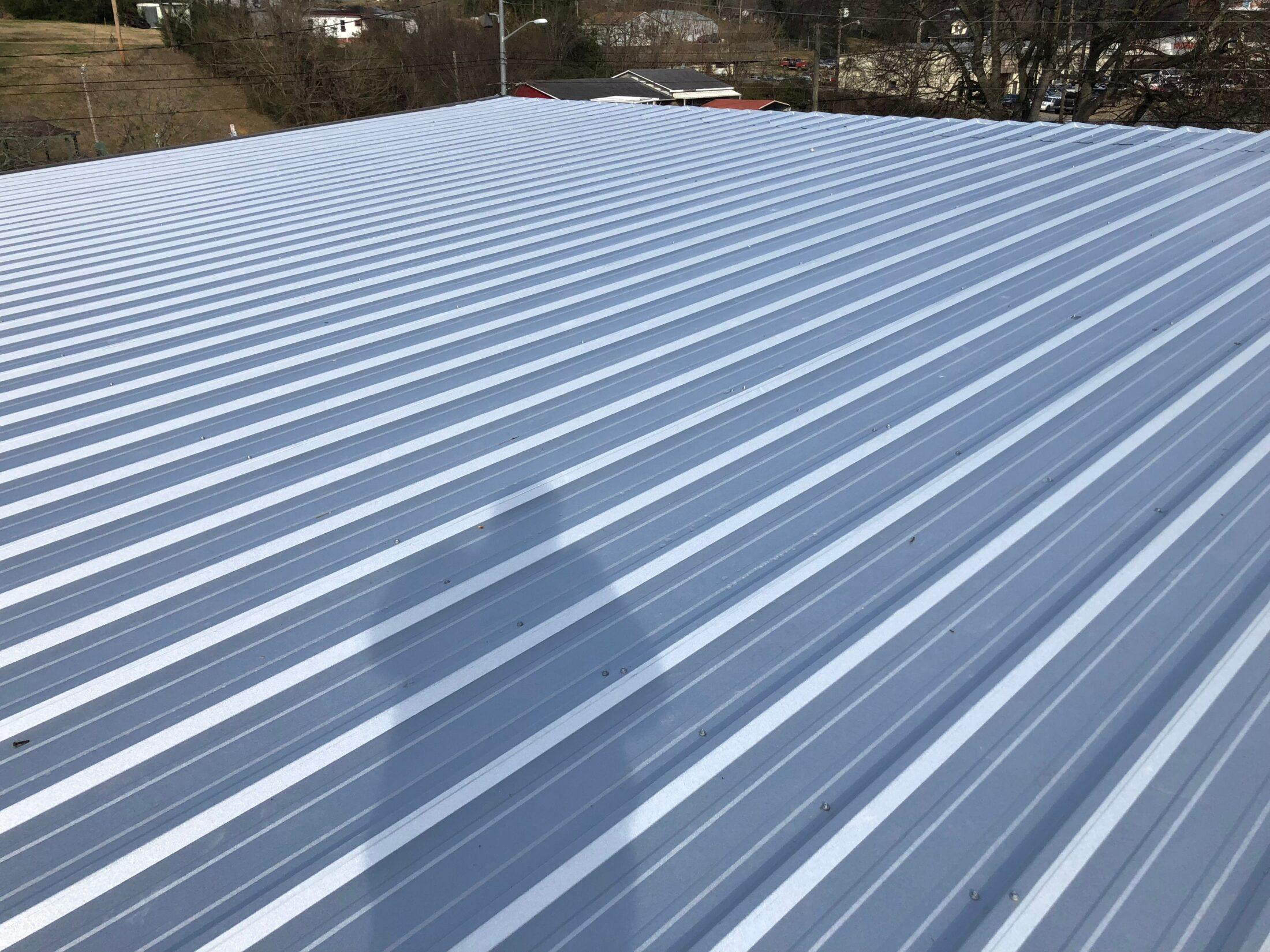 photo of long view of metal roof newly installed