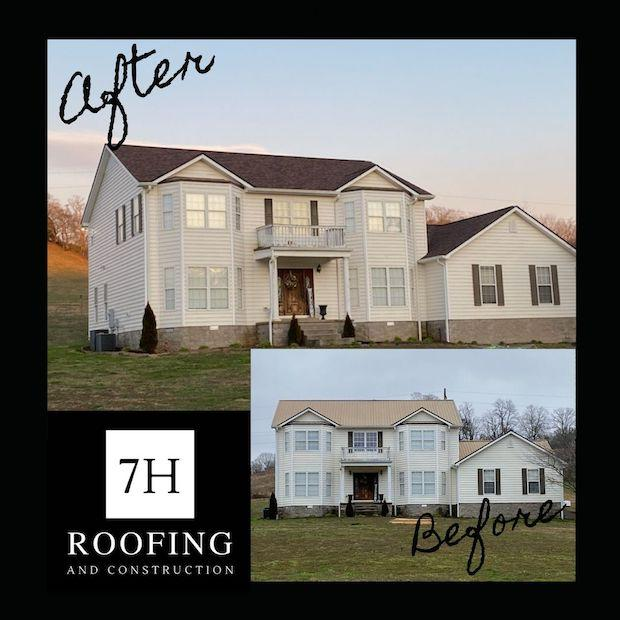 photo of two story home with front dormer over the entrance and covered entry porch. the home has a newly installed roof from 7H Roofing and Construction