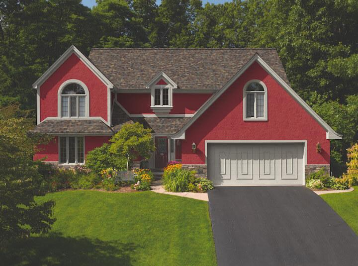 photo of view from the street of split level home with new estate gray asphalt roof