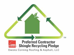 logo for Owens Corning Preferred Contractor Shingle Recycling Pledge