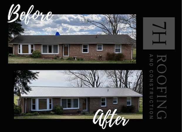collage of three photos showing a two story home with three upper dormers. The exterior of the home is a blue gray, the photos show the original red brick color roof, a second photo shows the roof's new underlay being installed and the third photo shows the estate gray new roof. The effect of the roofing change brings the entire exterior of the home together, making the gray show as a deep blue gray instead of a flat black gray.