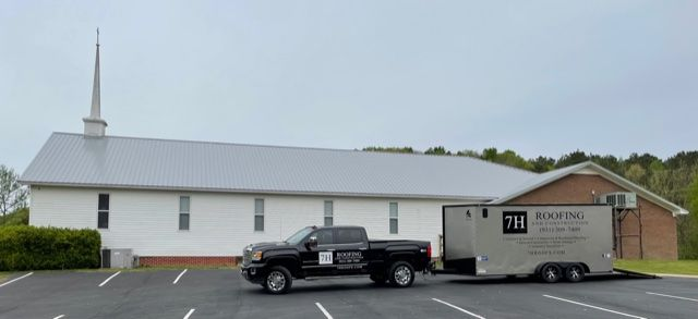 Solid Rock Baptist Church with new roof on the sanctuary side of the building
