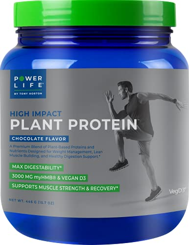 Tony Horton PowerLife® High Impact Plant Protein Supplement with 3000 MG of HMB, Chocolate Flavor 15 Servings