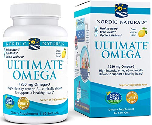 Lemon Flavor – 1280 mg Omega-3-60 Soft Gels – High-Potency Omega-3 Fish Oil Supplement with EPA & DHA – Promotes Brain & Heart Health – Non-GMO – 30 Servings (Pack of 1)